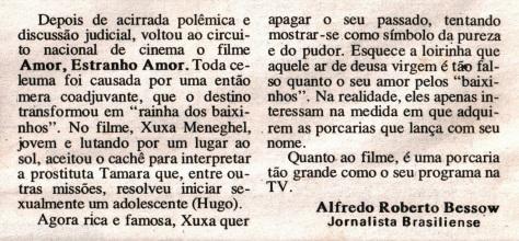Amor Estranho Amor - jornal goiano Vale do Paranã em 1991
